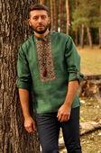 Эксклюзивная мужская вышитая рубашка нетривиального зеленого цвета (М07/1-236)