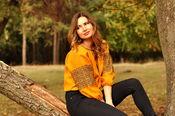 Колоритная женская блуза с вышивкой превосходного желтого оттенка  (Ж16/8-253)