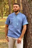 Легкая мужская вышиванка небесно-голубого оттенка (М16к-273)