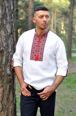 Мужская вышитая рубашка в традиционных оттенках (М04/2-212)
