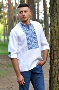 Мужская рубашка-оберег с богатой вышивкой  М19/2-213