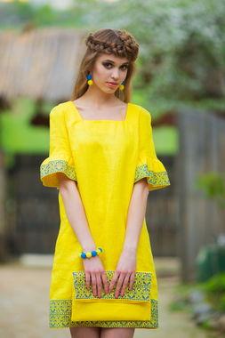 Необычное желтое платье в национальном стиле (П22-253)
