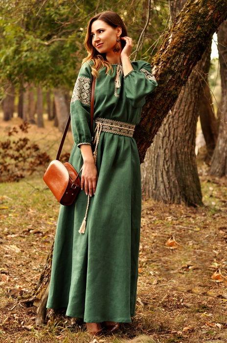 292d426e7b894d0 Невероятно изящное зеленое платье в пол с вышивкой (П16/7-236 ...