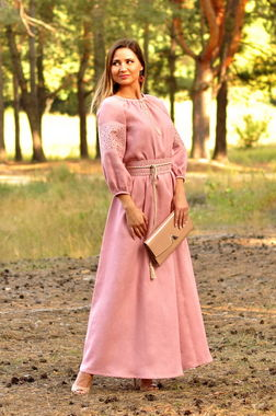 Нежное розовое платье с вышивкой для особых случаев  (П16/7-276)