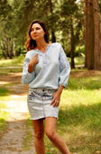 Светло-голубая женская блуза с традиционной украинской вышивкой (Ж16/7-271)