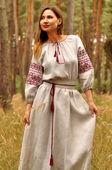 Светло-серое платье-макси в украинском этничном стиле  (П35-2116)