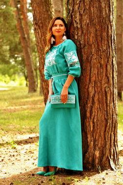 Яркое бирюзовое платье в этническом стиле (П34-271)