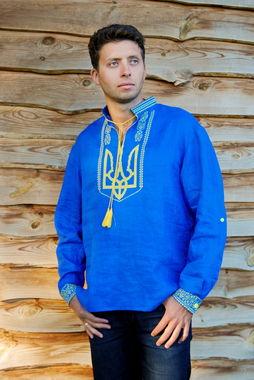 Запоминающаяся мужская рубашка с гербом Украины (М22/1-293)